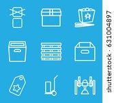 cardboard icons set. set of 9... | Shutterstock .eps vector #631004897