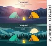 summer camp. evening camp  pine ...   Shutterstock .eps vector #631011569