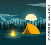 summer camp. night camping.... | Shutterstock .eps vector #631011575