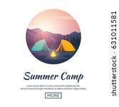 summer camp. evening camp  pine ... | Shutterstock .eps vector #631011581