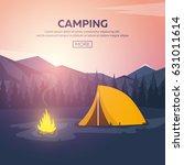 summer camp. evening camp  pine ... | Shutterstock .eps vector #631011614