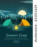 summer camp. night camping.... | Shutterstock .eps vector #631011629