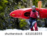 Whitewater Kayaker In Red Gear