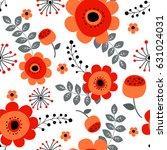 spring flowers seamless pattern ... | Shutterstock .eps vector #631024031