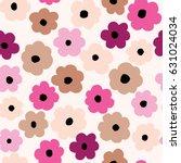 spring flowers seamless pattern ... | Shutterstock .eps vector #631024034