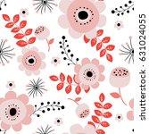 spring flowers seamless pattern ... | Shutterstock .eps vector #631024055