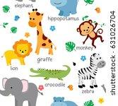 cute animals fabric seamless... | Shutterstock .eps vector #631026704
