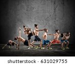 pilates and fitness workout | Shutterstock . vector #631029755