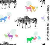zebra couple with colorful... | Shutterstock .eps vector #631035809
