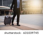 young businessman and suitcase
