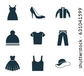 garment icons set. collection... | Shutterstock .eps vector #631041599