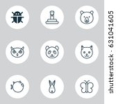 zoology icons set. collection... | Shutterstock .eps vector #631041605