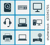 laptop icons set. collection of ... | Shutterstock .eps vector #631041701