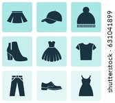 clothes icons set. collection... | Shutterstock .eps vector #631041899