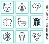 zoo icons set. collection of... | Shutterstock .eps vector #631042481