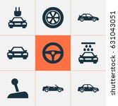automobile icons set.... | Shutterstock .eps vector #631043051