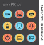 laptop icons set. collection of ... | Shutterstock .eps vector #631043951