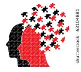Stock vector puzzle head couple vector 63104881