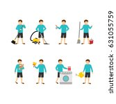 housekeeper character design... | Shutterstock .eps vector #631055759