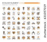 ecology elements   thin line... | Shutterstock .eps vector #631057019