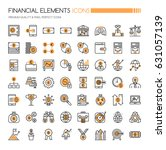 financial icons   thin line and ... | Shutterstock .eps vector #631057139