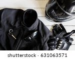 outfit of biker and accessories ... | Shutterstock . vector #631063571