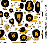 funny lions  seamless pattern... | Shutterstock .eps vector #631072745