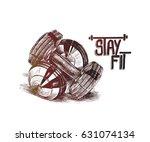 two of dumbbells  hand drawn... | Shutterstock .eps vector #631074134