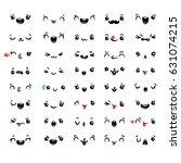 set of cute lovely kawaii... | Shutterstock .eps vector #631074215