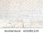 empty clear white wood table... | Shutterstock . vector #631081124