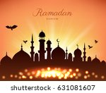 mosque silhouette in sunset sky ... | Shutterstock .eps vector #631081607