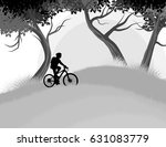 cycling woman in the forest... | Shutterstock .eps vector #631083779