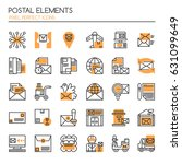 postal elements   thin line and ... | Shutterstock .eps vector #631099649