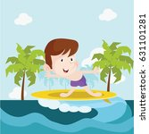 little surfers surfing by the... | Shutterstock .eps vector #631101281
