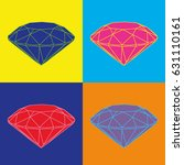 four colored diamonds on color... | Shutterstock .eps vector #631110161