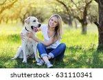 beautiful blonde girl is...   Shutterstock . vector #631110341