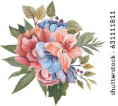 hand painted watercolor bouquet ... | Shutterstock . vector #631111811