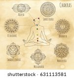 mystic chart with hand drawn... | Shutterstock .eps vector #631113581