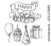 happy birthday fancy vintage... | Shutterstock .eps vector #631113881