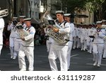 Small photo of BRISBANE, AUSTRALIA - APRIL 25, 2017: Australian Royal Navy members march in the ANZAC parade.