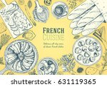 french cuisine top view frame.... | Shutterstock .eps vector #631119365