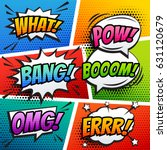 comic sound effect speech bubble pop art in vector cartoon style | Shutterstock vector #631120679