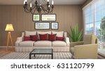 interior living room. 3d... | Shutterstock . vector #631120799