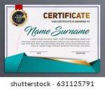 vector certificate or diploma... | Shutterstock .eps vector #631125791