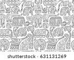 ornate elephants  seamless... | Shutterstock .eps vector #631131269