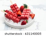 strawberry ice cream popsicles... | Shutterstock . vector #631140005