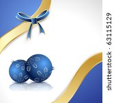blue balls with a gold bow on... | Shutterstock .eps vector #63115129