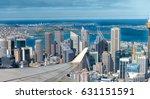 airplane flying over sydney.... | Shutterstock . vector #631151591