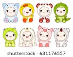 collection of cute children in... | Shutterstock .eps vector #631176557