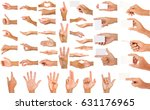 collection of hands isolated on ... | Shutterstock . vector #631176965